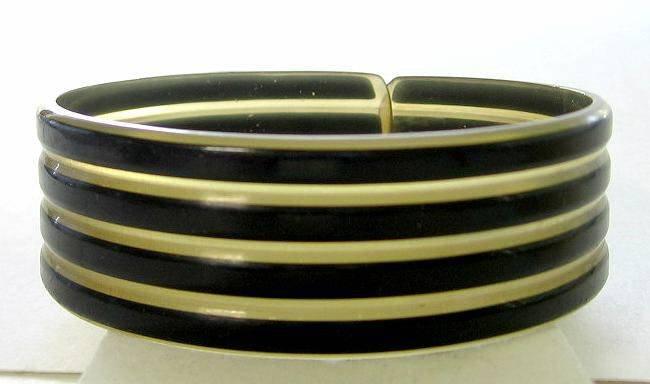 Vintage Striped Celluloid Flexible Cuff Bracelet
