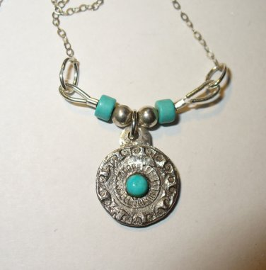 Turquoise and Handmade Fine Silver Pendant on Sterling Chain