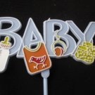 24 of Blue Baby Boy Tall Picks - Cake Decorations / Party / Gift Basket Decor