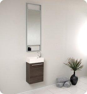 Fresca FVN8002GO Small Gray Oak Modern 15'' Bathroom Vanity Cabinet W/ Tall Mirror  - Gray Oak