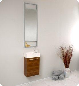 Fresca FVN8002TK Small Teak Modern 15'' Bathroom Vanity Cabinet W/ Tall Mirror  - Teak
