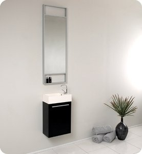 Fresca FVN8002BW Small Black Modern 15'' Bathroom Vanity Cabinet W/ Tall Mirror  - Black