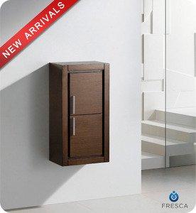 """Fresca FST8140WG 15.75""""""""W x 32""""""""H Bathroom Linen Side Cabinet w/ 2 Doors - Wenge Brown"""