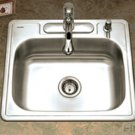"Houzer 2522-8BS3-1 25"" X 22"" X 8"" One Bowl Kitchen Sink - Three Holes - Stainless Steel"