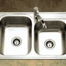 Houzer ISL-3322BS3-1 33'' x 22'' x 8'' Kitchen Sink Double Bowl  - Stainless  Steel