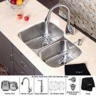 "Kraus KBU24-KPF2170-SD20 32"" Undermount Double Bowl 16 Gauge Stainless Steel Kitchen Sink & Stain"