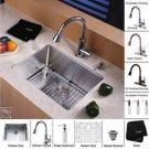 "Kraus KHU101-23-KPF2220-KSD30CH Stainless Steel  23"""" Undermount Single Bowl Kitchen Sink & Chrome"