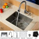 "Kraus KHU101-23-KPF2130-SD20 Stainless Steel 23"""" Undermount Single Bowl Kitchen Sink with Faucet"