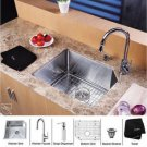 "Kraus KHU121-23-KPF1622-KSD30CH Stainless Steel 23"" Undermount Single Bowl Kitchen Sink & Chrome"