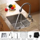 "Kraus KHU121-23-KPF2130-SD20 Stainless Steel 23"""" Undermount Single Bowl Kitchen Sink with Faucet"