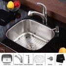 "Kraus KBU11-KPF2110-KSD20 Stainless Steel 20"" Undermount 16 Gauge Single Bowl Kitchen Sink with"