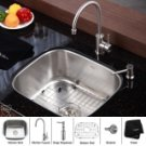 "Kraus KBU11-KPF2160-KSD20 Stainless Steel  20 """" Undermount 16 Gauge Single Bowl Kitchen Sink with"