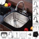 "Kraus KBU11-KPF2220-KSD30 Stainless Steel 20"" Undermount 16 Gauge Single Bowl Kitchen Sink with"