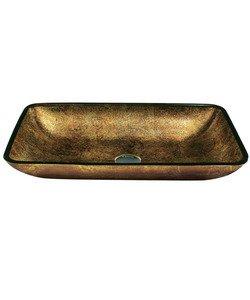 "Vigo VG07506 22"" x 14 1/4"" Copper Rectangle Glass Vessel Sink"