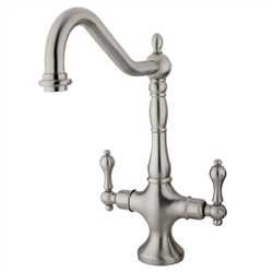 Kingston Brass KS1778ALLS Heritage Single Hole Two Handle Kitchen Faucet - Satin Nickel