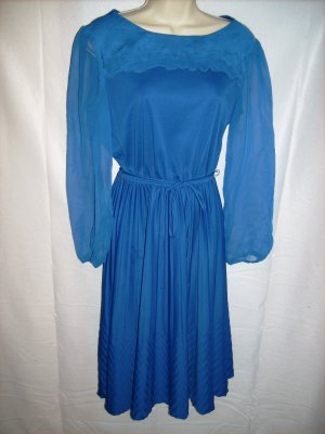 Blue Dress with Sheer Sleeves