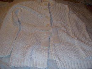 Liz Claiborne Company Womens Cardigan Sweater Cream Size L Large