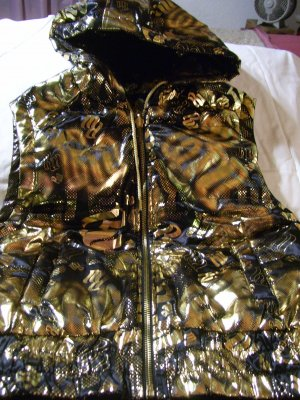 Rocawear Reversible Hooded Vest Black Gold Matlic Junior Size L Large