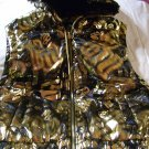 Rocawear Reversible Hooded Vest Black Gold Matlic Junior Size M Medium