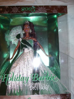 2005 Holiday Bob Markie African American Barbie Rare Green Silver Dress