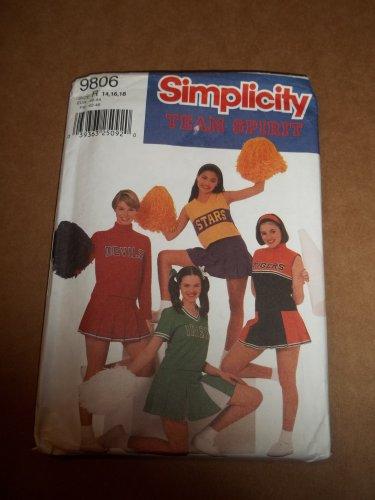 Simplicity Team Spirit Cheerleader Outfit Costume Pattern 9806 Size 14-18 Uncut