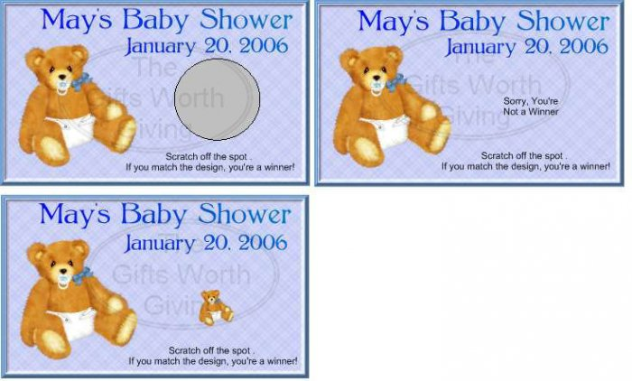 10 Baby Boy with Diaper Baby Shower Scratch Off Games