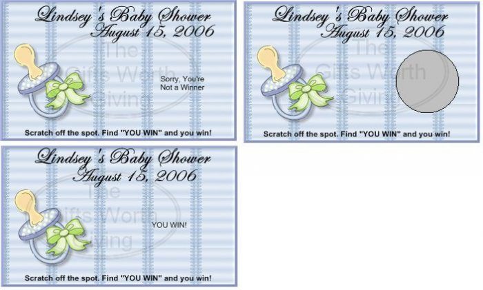 10 Baby Boy Pacifier Baby Shower Scratch Off Games