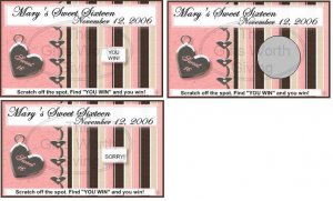 10 Sweet 16 Sixteen Pink Birthday Party Scratch Off Games