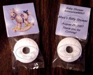 Personalized Blue Rocking Horse Baby Shower Mint Toppers Party Favors
