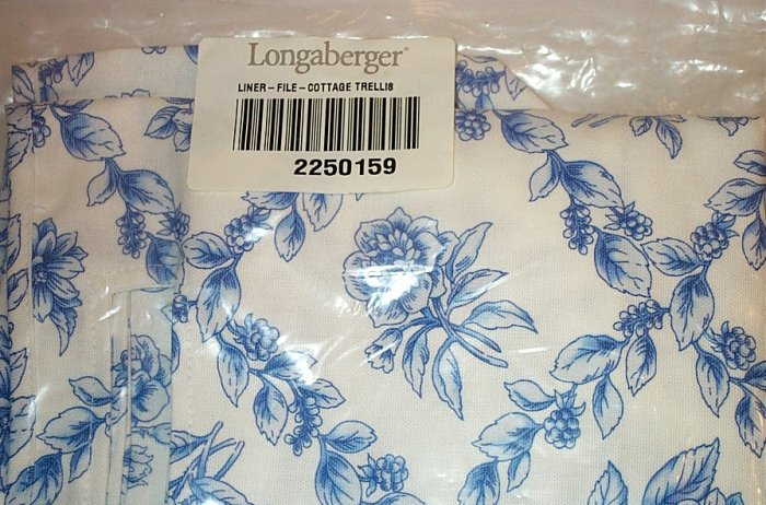 Retired Longaberger Cottage Trellis File Basket Liner