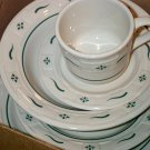 Retired Longaberger Green Pottery 5 Piece Place Setting