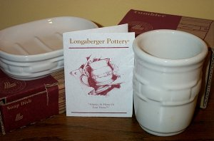 Retired Longaberger Ivory Pottery Soap Dish & Cup Set