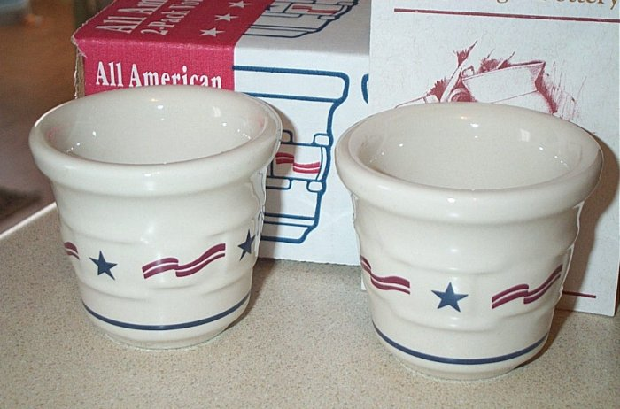 Retired Longaberger Pottery All American Votive Cups
