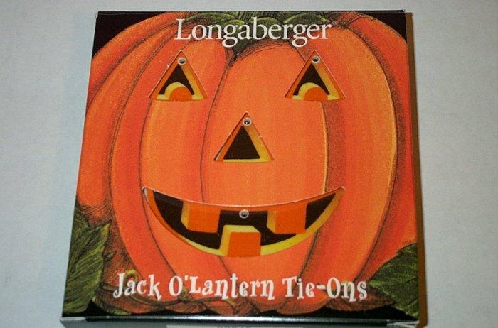 Retired Longaberger Jack O'Lantern Tie On Set In Box