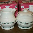 Retired Longaberger Holly Pottery Cream & Sugar Set
