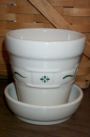 Retired Longaberger Green Pottery Flower Pot