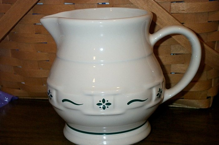 Retired Longaberger Green Pottery Small Pitcher