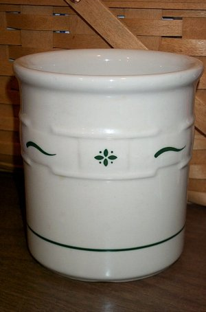 Retired Longaberger 1 Quart Pottery Crock With Green Trim