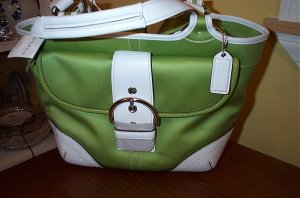 Retired Coach Green & White Soho Twill Bag Purse Tote