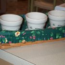 Longaberger Emerald Vine Flower Pot Set W/ Pottery Pots