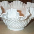 Beautiful Fenton Hobnail Milk Glass Ruffled Edge Bowl