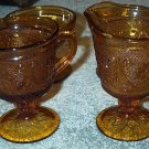 Tiara Amber Creamer Sugar Fairy Lamp Light & Sherbets