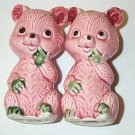 Vintage Porcelain Cute Pink Green Bears Salt Pepper