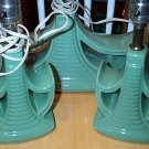 Green Pottery Retro Lamp Set