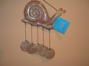Whimsical Snail Metal Wind Chimes