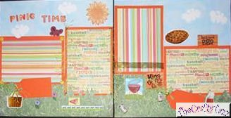 """2 CREATIVE 12X12 SCRAPBOOK PAGES """"PICNIC TIME"""" CHQD"""