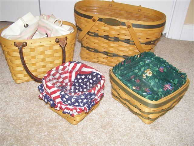 Longaberger Small Spoon Basket with homemade Flag Over the edge Liner and Protector