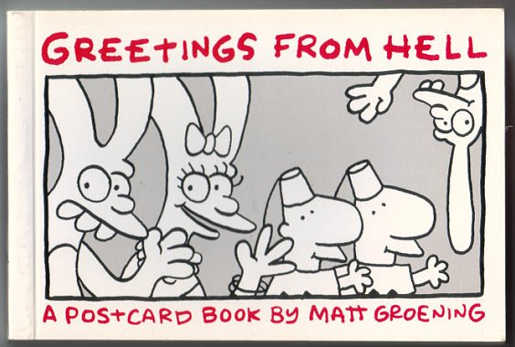 GREETINGS FROM HELL postcard book MATT GROENING 1989 1st