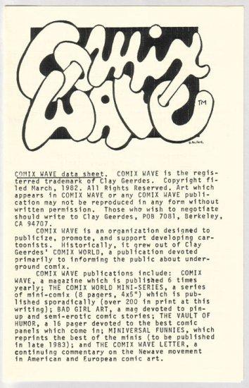 COMIX WAVE minicomics data sheet Clay Geerdes 1984