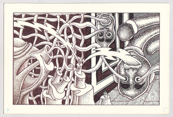 original art EXQUISITE CORPSE #6 Michael Dowers 1985